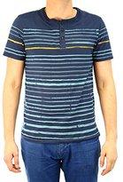 Buffalo David Bitton Men's Nifun Short Sleeve Reverse Stripe Print Henley