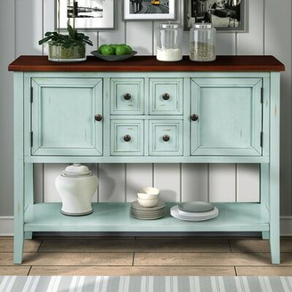 Rosecliff Heights Solway 46'' Wide 4 Drawer Acacia Wood Buffet Table Color: Antique Blue/Walnut