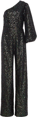 Saloni Lily One-Shoulder Sequined Stretch-Crepe Jumpsuit