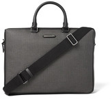 Ermenegildo Zegna Leather-Trimmed Herringbone Coated-Canvas Briefcase