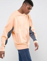 Asos Oversized Sweatshirt With Cut & Sew In Orange