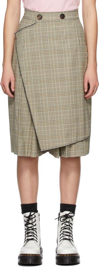 Sjyp Beige Check Culotte Shorts