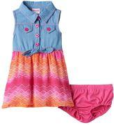 Nannette Baby Girl Denim Chevron Dress