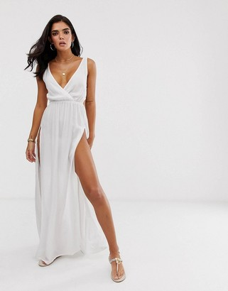 Asos Design DESIGN tie back cross front split maxi beach dress in white