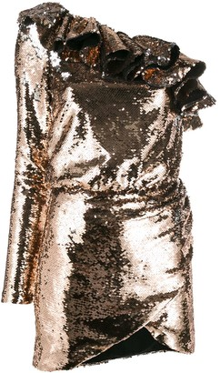 Amen Sequin Flounce Cocktail Dress