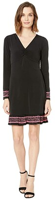 MICHAEL Michael Kors Solid Twist Neck Petal Border Dress (Black) Women's Dress