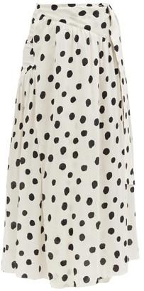 Adriana Degreas Polka-dot Gathered-poplin Wrap Skirt - Cream Print