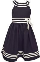Bonnie Jean Navy White Collar Dress - Toddler