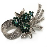 Avalaya Stunning Bow Corsage Crystal Brooch (Clear&Emerald Green)
