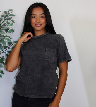 Asos DESIGN Petite t-shirt with pocket in washed black