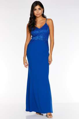 Quiz Royal Blue Sequin Lace Strappy Maxi Dress