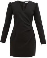 MSGM Wrap-detail Crepe Mini Dress - Womens - Black