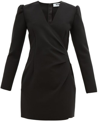 MSGM Wrap-detail Crepe Mini Dress - Black