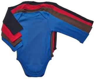 Trunks Leveret Solid Long Sleeve Bodysuit - Pack of 4 (Baby Boy)