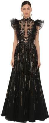 ZUHAIR MURAD Long Embellished Tulle Dress