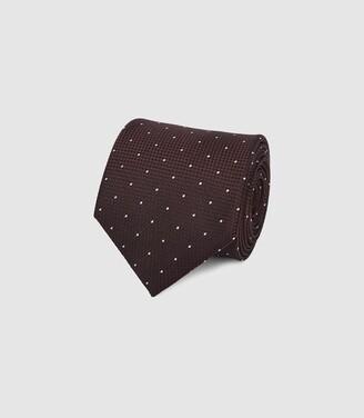 Reiss Liam - Silk Polka Dot Tie in Burgundy