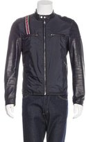 Gucci Leather-Trimmed Web-Accented Jacket