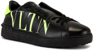 Valentino Low Top Sneaker in Black & Lime & Black | FWRD
