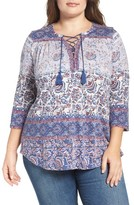 Lucky Brand Plus Size Women's Lace-Up Knit Peasant Top