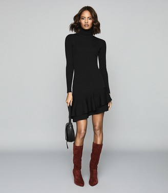 Reiss Finn - Ruffle Hem Knitted Dress in Black