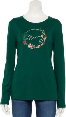 Croft & Barrow Women's Holiday Long Sleeve Graphic Tee