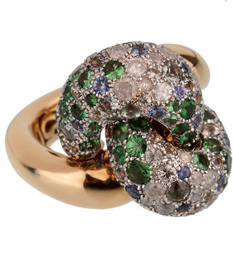 Pomellato 18K 17.0 Grams Rose Gold 1.90 Ct. Tw. Diamond & Sapphire Cocktail Ring
