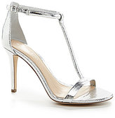 Gianni Bini Antonias T-Strap Metallic Lizard Patterned Leather Dress Sandals