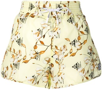 Off-White Cotton Flower Print Shorts