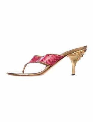 Gucci Snakeskin Animal Print Sandals Pink