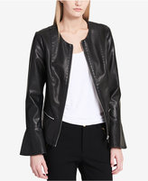 Calvin Klein Faux-Leather Flared-Sleeve Moto Jacket