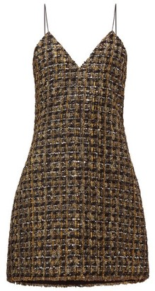 Balmain Metallic Tweed Mini Dress - Womens - Gold Multi
