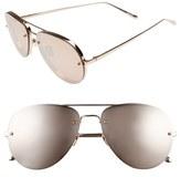 Linda Farrow 59mm Aviator 18 Karat Rose Gold Trim Sunglasses
