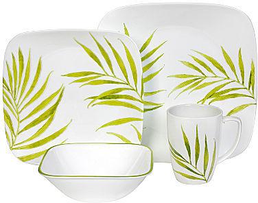 "Corelle Square"" Bamboo Leaf 16-pc. Dinnerware Set"