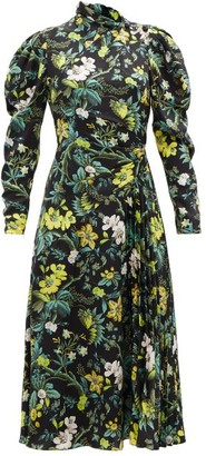 Erdem Irwin Pleated Floral-print Silk-satin Midi Dress - Black Multi
