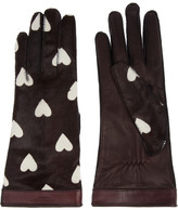 Burberry Heart-print calf hair gloves