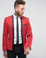 Asos Super Skinny Cropped Blazer in Red