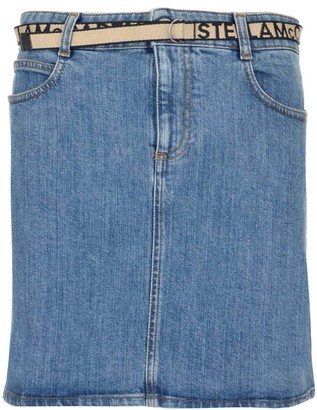 Stella McCartney Logo Belted Denim Skirt