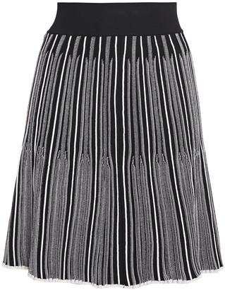 CASASOLA Pleated Striped Jacquard-knit Mini Skirt