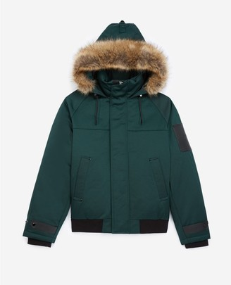 The Kooples Bottle green down jacket with hood