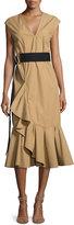 Derek Lam 10 Crosby Sleeveless Ruffle Hem Belted Dress, Beige
