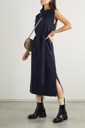 Chloe - Belted Button-detailed Wool And Cashmere-blend Midi Dress - Blue