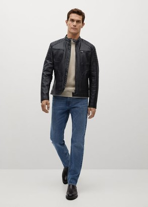 MANGO MAN - Faux-leather biker jacket black - S - Men