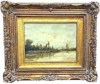 One Kings Lane Vintage Village & Lake Oil Painting - Vermilion Designs - gold/multi