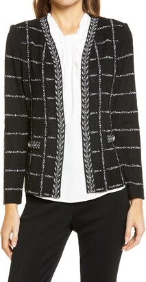 Ming Wang Windowpane Check Textured Knit Jacket