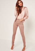 Missguided Camel High Waisted Laced Up Skinny Jeans