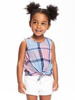 Old Navy Plaid Tie-Front Tank for Toddler Girls