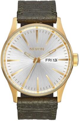 Nixon Men's Sentry Leather Strap Watch, 42mm