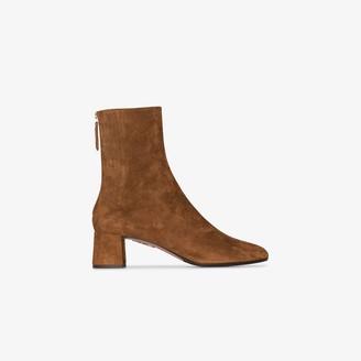 Aquazzura brown Saint Honore 50 suede ankle boots