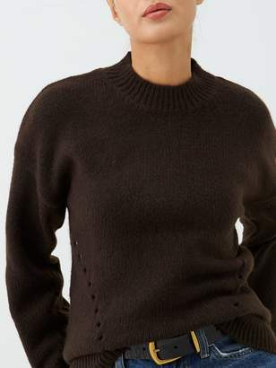 Warehouse Curved Hem Cosy Jumper - Chocolate