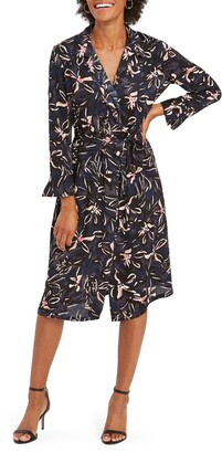Nic+Zoe NIC + ZOE Inky Blooms Long Sleeve Midi Shirtdress